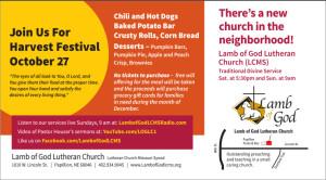 Lamb of God Harvest Festival Marketing Campaign Postcard, Front